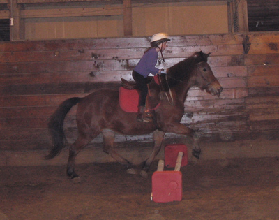 English rider learning balance over cavaletti.